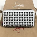 【Christian Louboutin クリスチャンルブタン】Panettone ホワイト スパイク 長財布Panettone White Leather Spikes Wallet